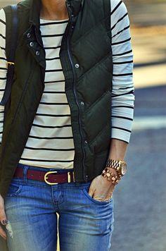 stripes + puffy vest + jeans + chunky watch & bracelet