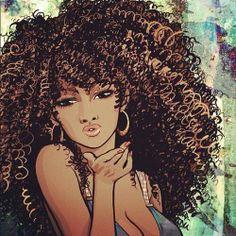 This is a close resemblance of what I hope my hair to look lik… Natural Hair art. Natural Hair Art, Natural Hair Styles, Natural Beauty, Natural Curls, Black Girl Art, Black Women Art, Art Girl, African American Art, African Art
