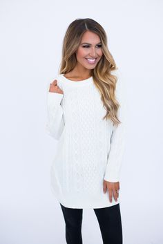 Ivory Cable Knit Long Sweater - Dottie Couture Boutique