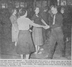 Jan. 22, 1954 - A group square dances in Marathon Park's Youth Building.