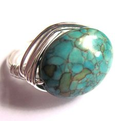 Wire Wrap Ring Turquoise Stone Unisex Fashion by gimmethatthing, £9.75