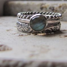 Stacking Engagement Ring Sterling Silver and Labradorite