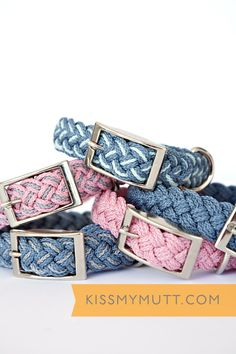 Kiss My Mutt® 'Coastal Collection' Braided Collars. www.kissmymutt.com