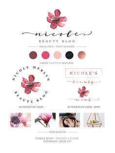 LOGO KIT, Magnolia Logo, Rose Gold Logo, Logo Set, Logo Alternatives, Logo Magnolia, Pink Floral Logo, Gold Foil, Watercolor Magnolia Logo