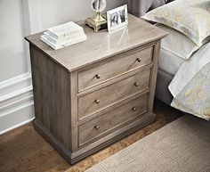 The gorgeous antique finish of our Aldridge Nightstand shows off the beauty of this night table's solid wood construction. The striking natural wood grain is accented by recessed drawer fronts with slim trim, simple crown molding and fillet foot molding.