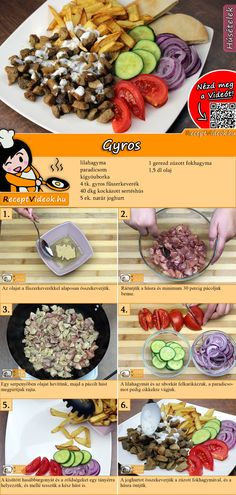 Gyros recept elkészítése videóval Meat Recipes, Other Recipes, Cooking Recipes, Healthy Recipes, Monkey Food, Do It Yourself Food, Good Food, Yummy Food, No Cook Meals