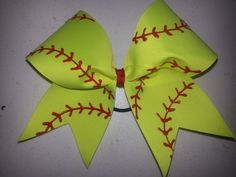 Check out this item in my Etsy shop https://www.etsy.com/listing/181725395/neon-yellow-softball-bow-many-colors