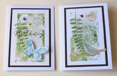 Set of two Cards Happy Birthday and Thank by SouvenirdelaFrance