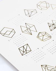 gold foil + letterpress 2013 Prisms Calendar by Julia Kostreva, at Need Supply Co.