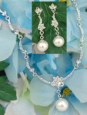 Bride's Jewelry Sets | Bridal Jewelry Set with Crystals & Pearl Drop -2-be-unique.com