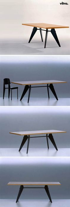 Jean Prouve Furniture: Mid Century Modern EM Table and Standar Chair