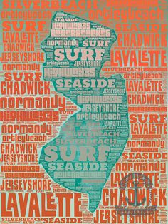 New Jersey Shore Typography State Outline Surfing Beach Wall Decor Choose Lustre Print, Canvas or Bamboo Mount