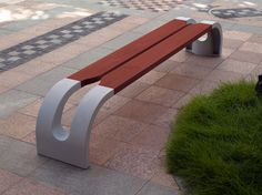 Modern patio lounge-Bench made out of wood and metal Concrete Bench, Concrete Furniture, Bench Furniture, Urban Furniture, Street Furniture, Garden Furniture, Furniture Market, Garden Design, House Design