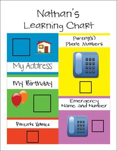 Childrens Learning Chart ~ Numbers in our World ~ Kindergarten HW