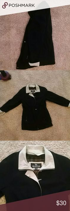 Black coat with beige touch up Very light coat, stylish and warm, can zip up and button up, has two side pockets with room , basically new ,has a detachable coat inside for extra warmth, has two side draw strings for the hour glass figure look, no damage but has been owned , XS size  but fits more between a S/M Jackets & Coats Pea Coats