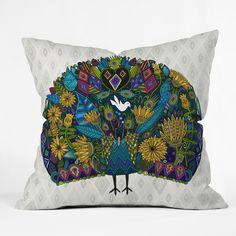 Sharon Turner Peacock Garden Throw Pillow