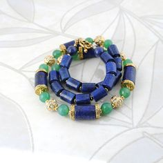 Dark Blue Lapis Lazuli Green Jade Natural Stone Gold Tone Beaded Necklace