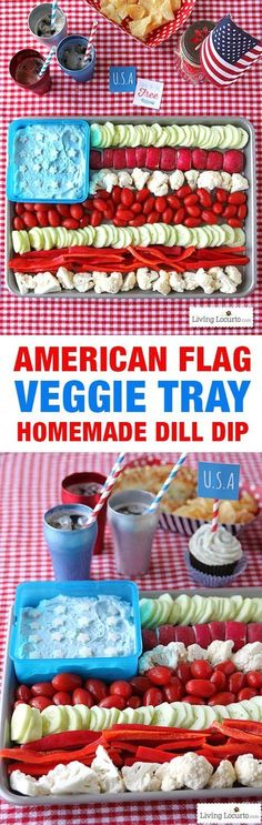 How to make an American Flag Vegetable Tray Platter, Dill Dip Recipe and grilled pizza. Easy party ideas for the 4th of July. Patriotic party veggie tray. http://LivingLocurto.com