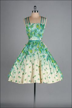 Vintage 1950s Dress  Glitter Butterflies