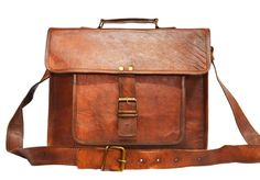 "Vintage Leather Laptop Bag, Messenger Bag 11"" x 14"" x 4"""