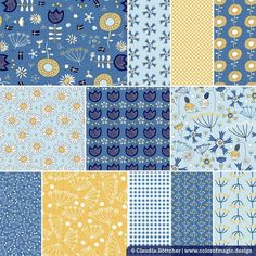 """@color_of_magic posted to Instagram: Some days ago, around Midsummer, a customer bought 16 designs from my """"Swedish Summer Flowers"""" collection, one yard from each design. 🇸🇪💙💛 I was very happy and when I looked at the collection I thought I have to show it to you again because it just fits the season so well. I wish you a wonderful summer time! The almost 30 """"Swedish Summer Flowers"""" designs are vailable at my @Spoonflower shop on fabric, wallpaper and home decor Color Magic, Fabric Shop, Fabric Wallpaper, Summer Flowers, Surface Pattern, Flower Designs, Spoonflower, Summer Time, Diy Projects"""