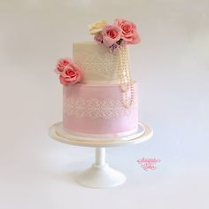 2 Tier Pink and Ivory, Sugar Veil Lace: Storytale Cakes, facebook