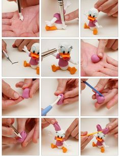 Daisy Tutorial 4 Fondant Figures, Fondant Cake Toppers, Polymer Clay Figures, Polymer Clay Animals, Polymer Clay Projects, Polymer Clay Creations, Diy Clay, Disney Clay Charms, Hero Crafts