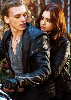 The Mortal Instruments; Jace & Clary motorcycle scene, we just need simon the rat peeping through her jacket pocket