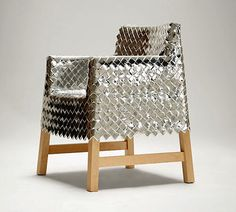 Silver wrapper chair cover.