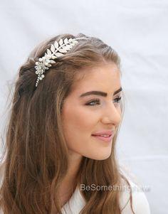 Grecian Silver Tone Metal Leaf Headband with by BeSomethingNew