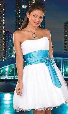 A-Line Organza Strapless Short Dress Charm85742