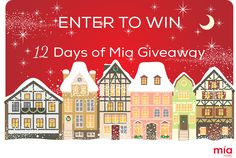 12 days of Mia Starts Today! Enter the Giveaway here >>http://twelvedaysofmia.pgtb.me/facebook/app/194415/ Get a chance to win two $400 Mia Mariu Shopping Sprees, and two $100 Amazon Gift Cards! Answer daily questions for 12 days and get a chance to win Mia Mariu products as well!