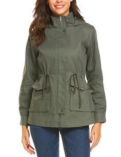 c12885531a4 Beyove Women's Militray Anorak Hoodie jackets with Drawstring Waist army  green XXL…