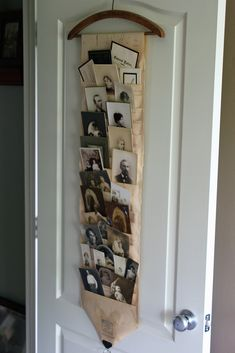 Hanging on the door is the holder I made from an old piano roll. I filled it with old photos and cabinet cards that I will use for projects. But until I get to those projects, I think it's a nice way to store and display the photos. Cadre Photo Original, Player Piano Rolls, Old Pianos, Ideas Geniales, Wooden Hangers, Home And Deco, Photo Displays, Altered Art, Repurposed