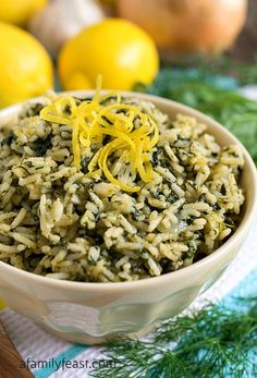 Rice (Spanakorizo) - A Family Feast® - A simple, flavorful Greek Rice recipe, also known as Spanakorizo. -Greek Rice (Spanakorizo) - A Family Feast® - A simple, flavorful Greek Rice recipe, also known as Spanakorizo. Greek Dishes, Rice Dishes, Food Dishes, Vegetarian Recipes, Cooking Recipes, Healthy Recipes, Greek Food Recipes, Authentic Greek Recipes, Cooking Bacon