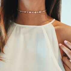 - Delicate chain choker with dainty diamonds (Cubic Zirconia) embellished throughout - 14k gold or silver layered of your choice: Gold-plated jewelry is created a process that places a layer of gold o