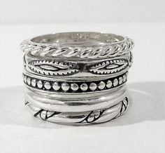 SILPADA R0593 SET OF 5 STERLING SILVER STACK STACKABLE RING SET SIZE 7 RETIRED #SILPADA #Stackable