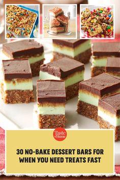 No oven? No problem. Try our no-bake bar recipes. Bar Recipes, Dessert Recipes, Chocolate Squares, Cereal Bars, No Bake Bars, Dessert Bars, No Bake Desserts, Oven, Treats