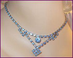 Vintage Light Blue Rhinestone Necklace ~ Long Cluster Drop  by MarlosMarvelousFinds, $21.00