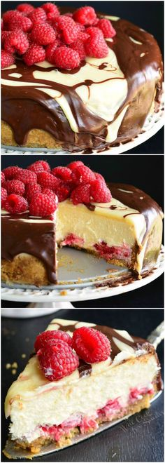 Double Chocolate Ganache and Raspberry Cheesecake! TRY this amazing, smooth, homemade cheesecake loaded with raspberries and topped with two kinds of chocolate ganache. Perfect for Mother's Day! #desserts #chocolate #cheesecake