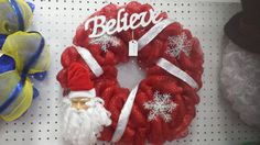 Santa Wreath - Santa Decor - Christmas Decor - Chrismtas Wreath - Holiday Wreath - Santa Gift - Santa Claus - Believe - Believe Gift