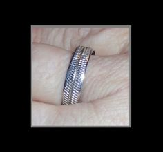Vintage Trench Art Wedding Band, 1955 U.S. Quarter Band Ring, 900 Silver Ring, Coin Edge Design, Piece Of History, Special Year 1955, Vintage Coin Ring. Wear a real piece of history. This Vintage Trench Art Band Ring is an exquisite example of this art form. Made from an actual 1955 U.S. Liberty Quarter, this ring is really beautiful. I have seen a lot of these rings, but never have I seen one where they craftsman actually used the edge of the coin to create a beautiful diamond cut pattern…