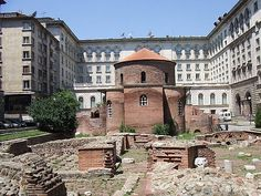 "Rotunda within walls of Bulgarian ""White House"", Sofia, Bulgaria"