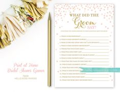 Pink and Gold Bridal Shower Games . What Did by hellorosepaperie