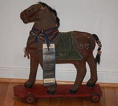 Antique Doll Toy Papier Mache Horse on Wheels MINIATURE #unitedsellers
