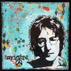 Candy Colwell | John Lennon Splash and Transfer Techniques Canvas #decoartprojects #decoartmedia #mixedmedia