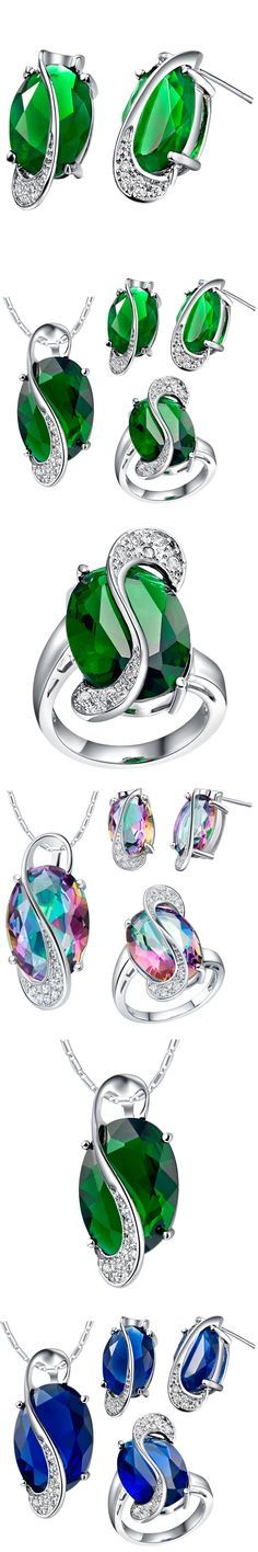 Jewelry set for women fashion silver color  green crystal jewelry necklaces rings stud earrings Bridal Jewelry Sets