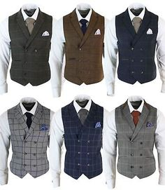 Details about Mens Double Breasted Herringbone Tweed Peaky Blinders Vintage Check Waistcoat Indian Men Fashion, Mens Fashion Suits, Mens Suits, Men's Vest Fashion, Grey Suit Men, Fall Fashion, Style Fashion, Peaky Blinders Suit, Peaky Blinders Costume