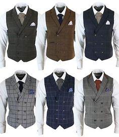 6308ea69bc6dc Details about Mens Double Breasted Herringbone Tweed Peaky Blinders Vintage  Check Waistcoat