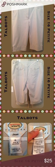 Talbots Khaki Capris Sz 16 Petite Nice lightweight cuffed capri pants by Talbots. These are in great shape, they are flattering and a wardrobe basic! Size 16 Petite...light khaki in color! Talbots Pants Capris